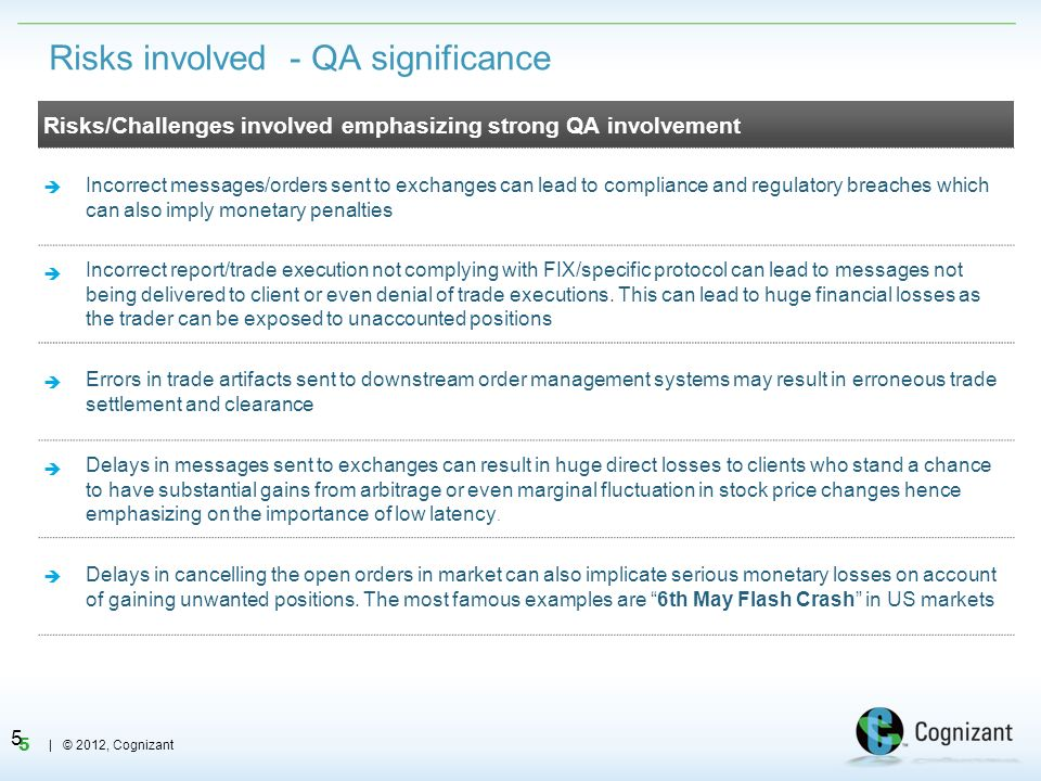 5 | © 2012, Cognizant Risks involved - QA significance 5 Risks/Challenges involved emphasizing strong QA involvement Incorrect messages/orders sent to