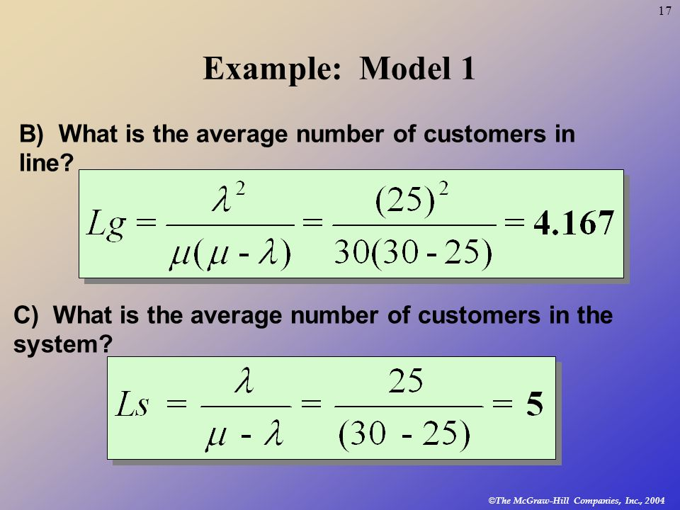 © The McGraw-Hill Companies, Inc., 2004 17 Example: Model 1 B) What is the average number of customers in line? C) What is the average number of custo