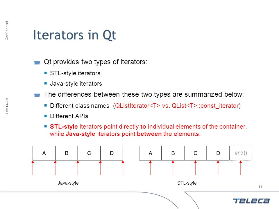 Confidential © 2009 Teleca AB Iterators in Qt Qt provides two types of iterators: STL-style iterators Java-style iterators The differences between the