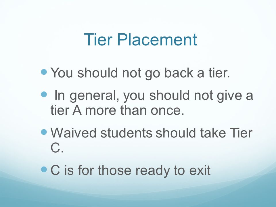 Tier Placement You should not go back a tier.