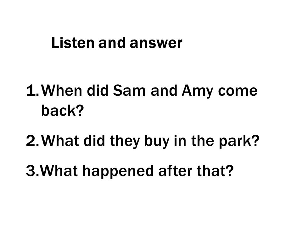 Listen and answer 1.When did Sam and Amy come back? 2.What did they buy in the park? 3.What happened after that?
