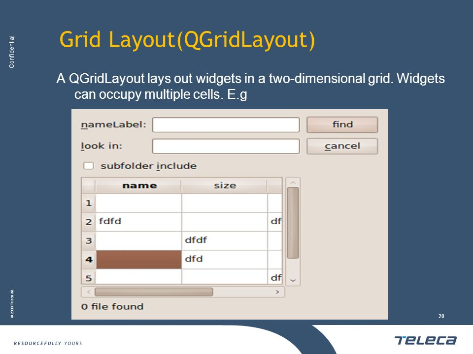 Confidential © 2008 Teleca AB 20 Grid Layout(QGridLayout) A QGridLayout lays out widgets in a two-dimensional grid. Widgets can occupy multiple cells.
