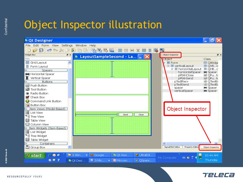 Confidential © 2008 Teleca AB Object Inspector illustration Object Inspector