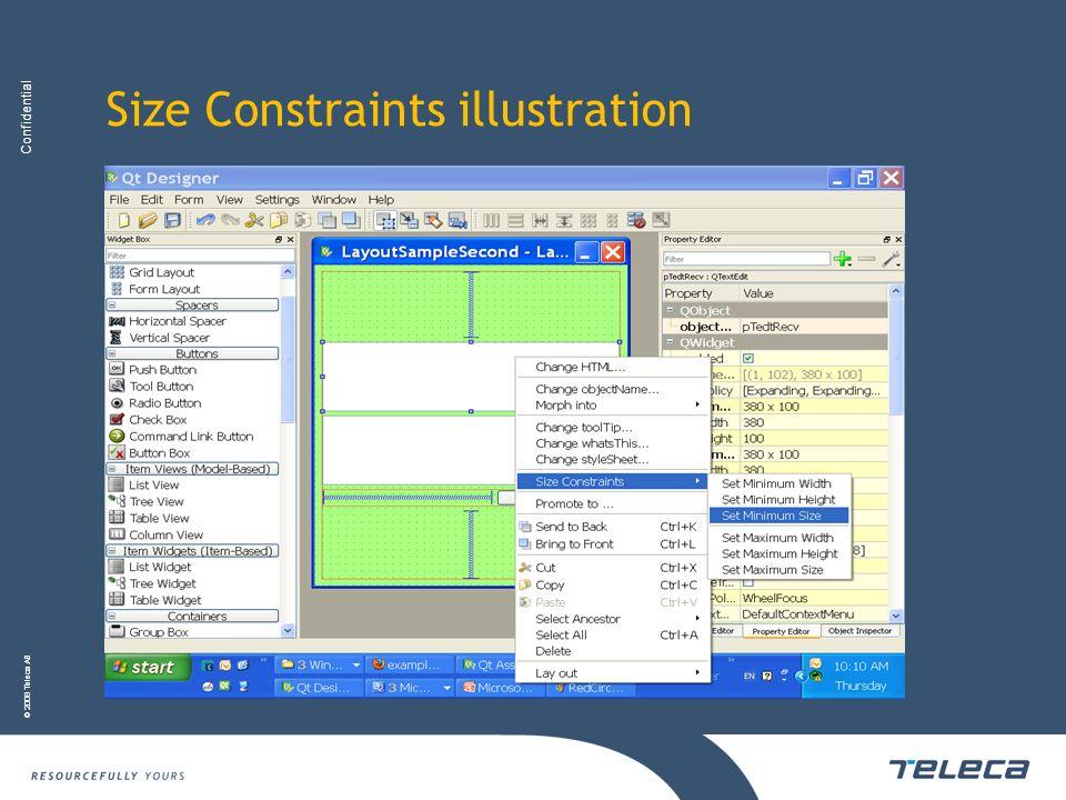 Confidential © 2008 Teleca AB Size Constraints illustration