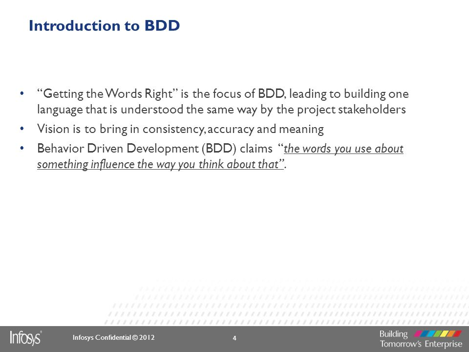 Infosys Confidential © 2012 Introduction to BDD Getting the Words Right is the focus of BDD, leading to building one language that is understood the s