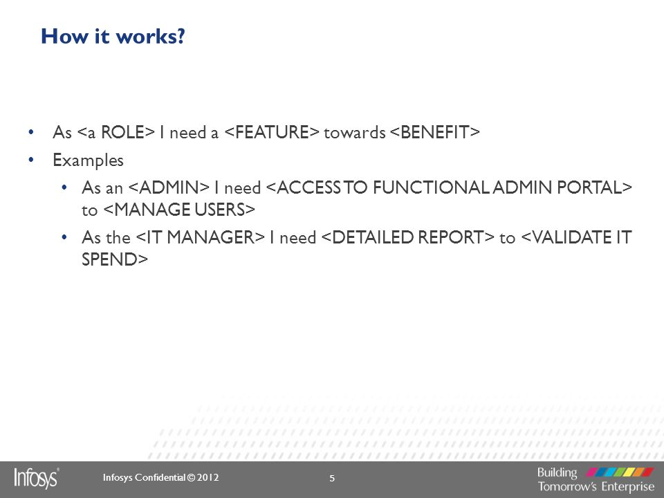 Infosys Confidential © 2012 How it works? As I need a towards Examples As an I need to As the I need to 5