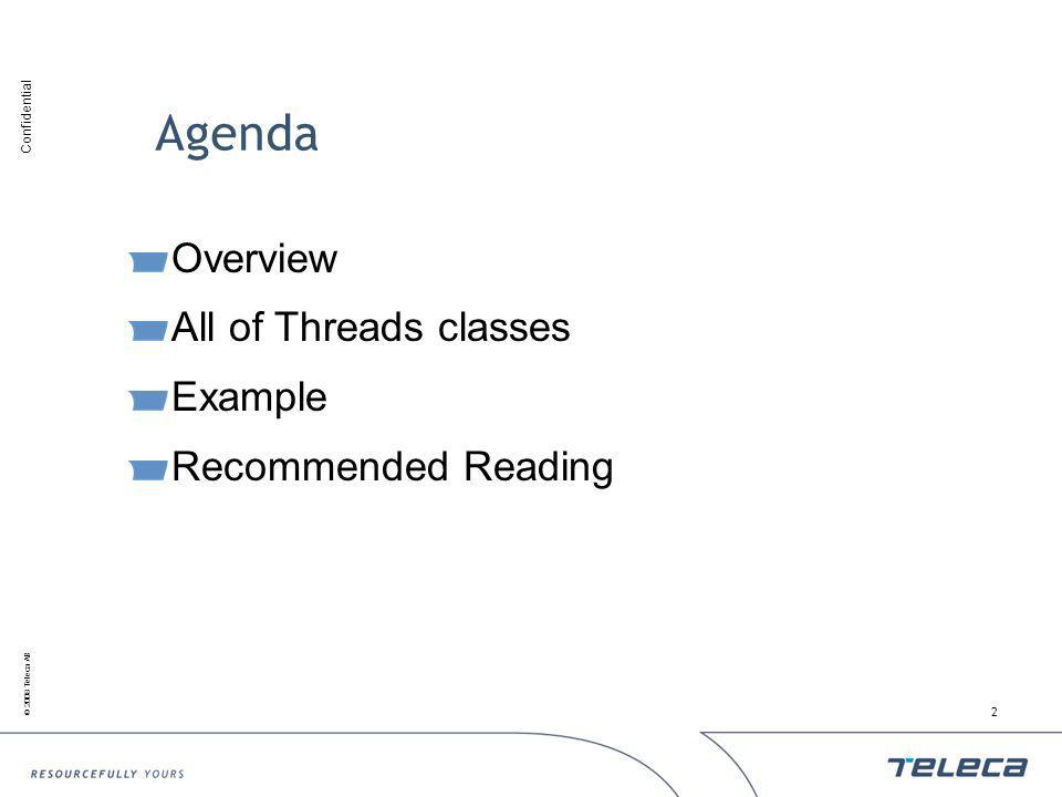 Confidential © 2008 Teleca AB 2 Overview All of Threads classes Example Recommended Reading Agenda