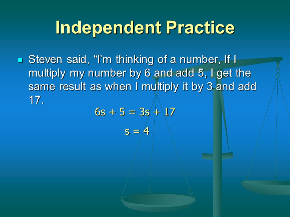 Independent Practice Consider the following equations. Draw the balance puzzles to match the equations and solve. Consider the following equations. Dr