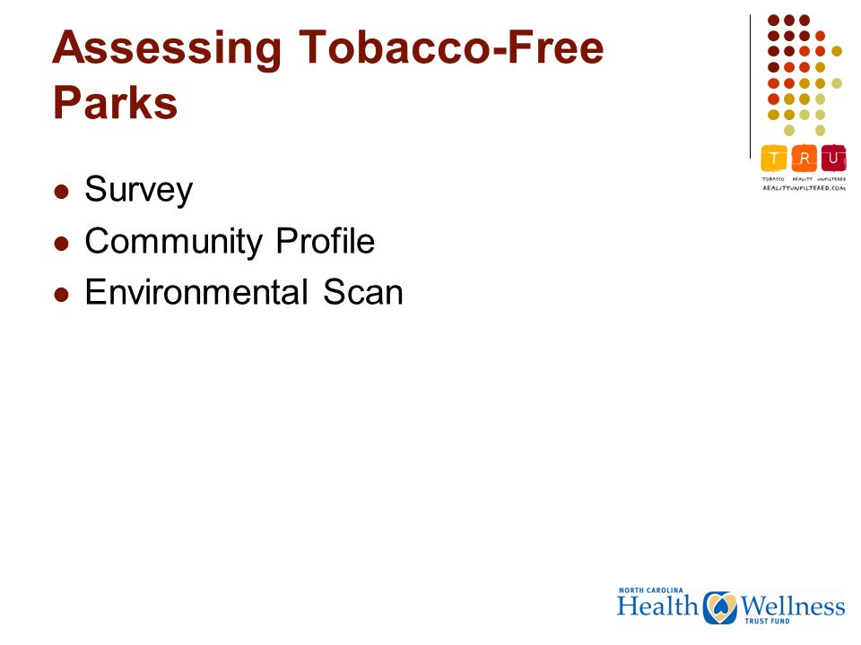 Assessing Tobacco-Free Parks Survey Community Profile Environmental Scan