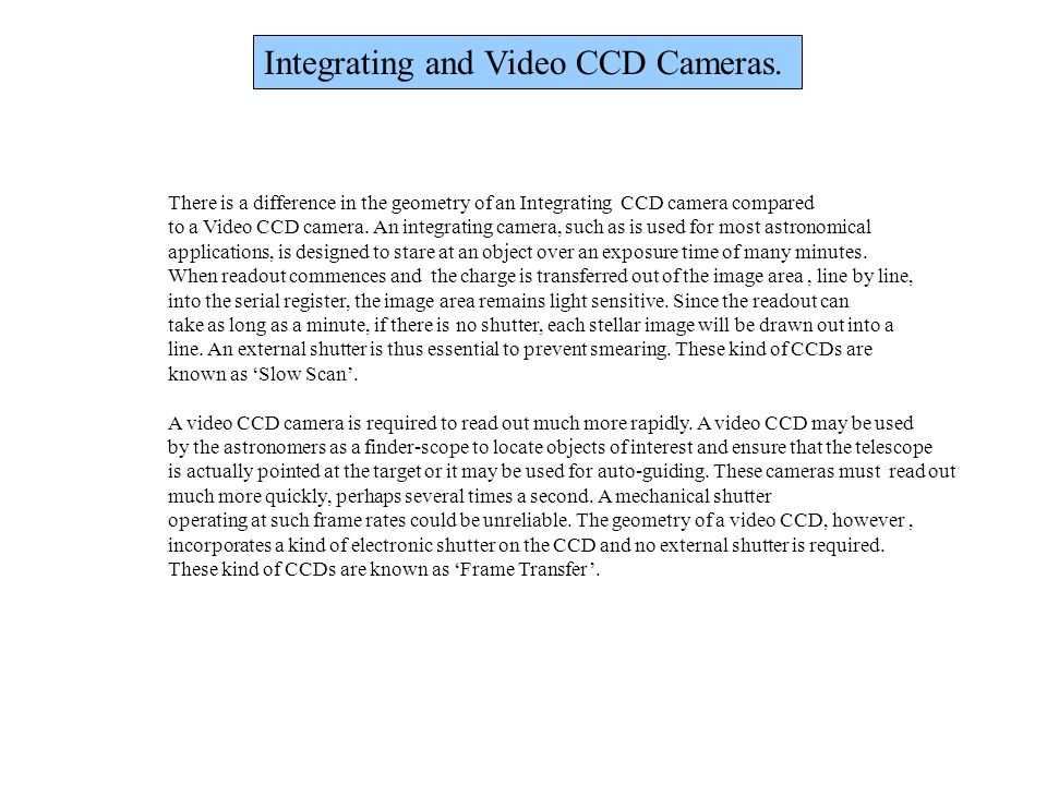 Integrating and Video CCD Cameras. There is a difference in the geometry of an Integrating CCD camera compared to a Video CCD camera. An integrating c