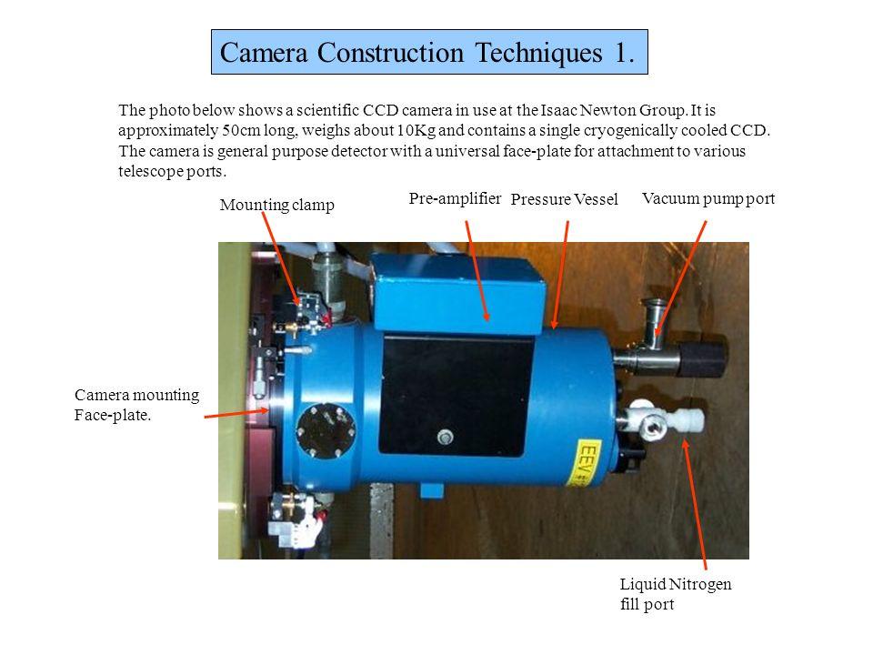 Camera Construction Techniques 1. Pre-amplifier Pressure Vessel Vacuum pump port Liquid Nitrogen fill port Camera mounting Face-plate. The photo below