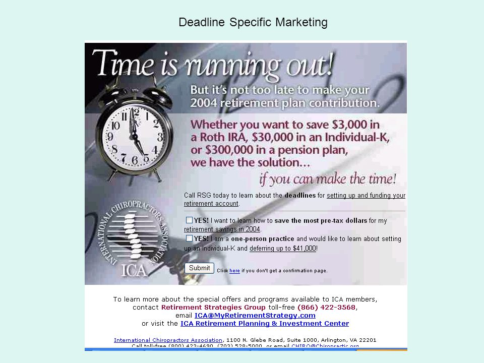 Quintessence Deadline Specific Marketing