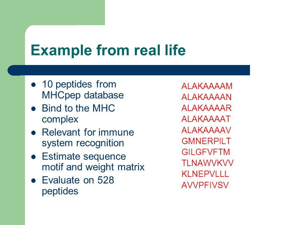 Example from real life 10 peptides from MHCpep database Bind to the MHC complex Relevant for immune system recognition Estimate sequence motif and wei