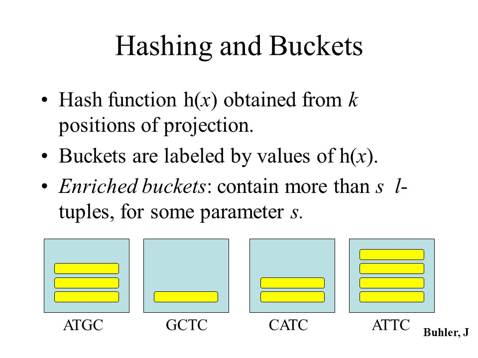 Hashing and Buckets Hash function h(x) obtained from k positions of projection. Buckets are labeled by values of h(x). Enriched buckets: contain more