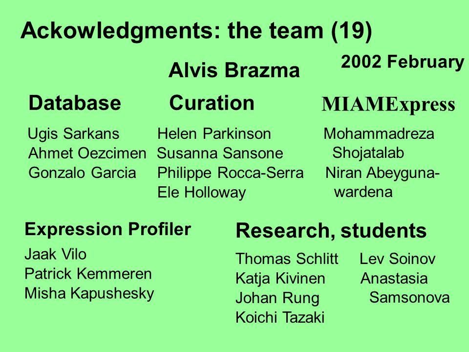 Ackowledgments: the team (19) Alvis Brazma DatabaseCuration MIAMExpress Ugis Sarkans Gonzalo Garcia Helen ParkinsonMohammadreza Shojatalab Expression
