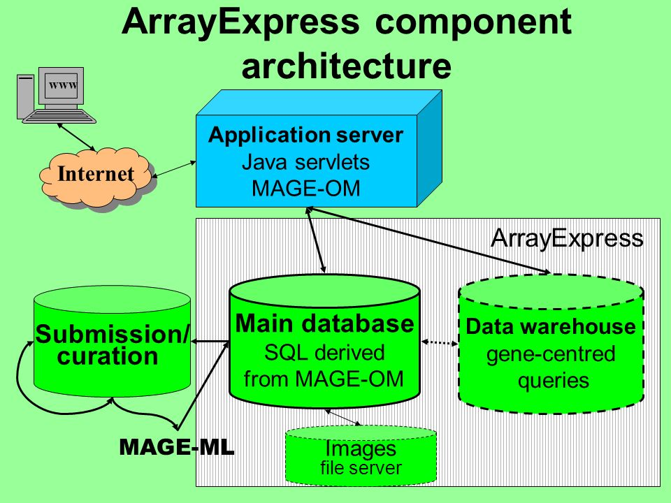 ArrayExpress component architecture Main database SQL derived from MAGE-OM Data warehouse gene-centred queries Application server Java servlets MAGE-O
