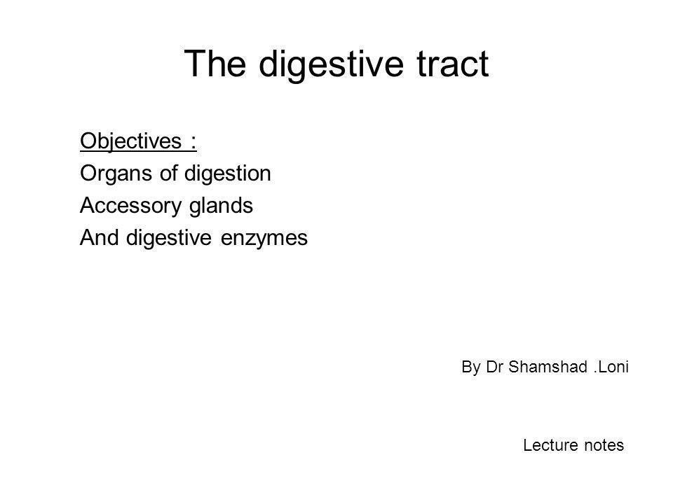 The digestive tract Objectives : Organs of digestion Accessory glands And digestive enzymes By Dr Shamshad.Loni Lecture notes