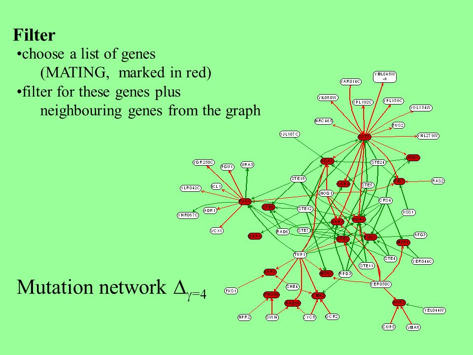 Filter choose a list of genes (MATING, marked in red) filter for these genes plus neighbouring genes from the graph Mutation network =4