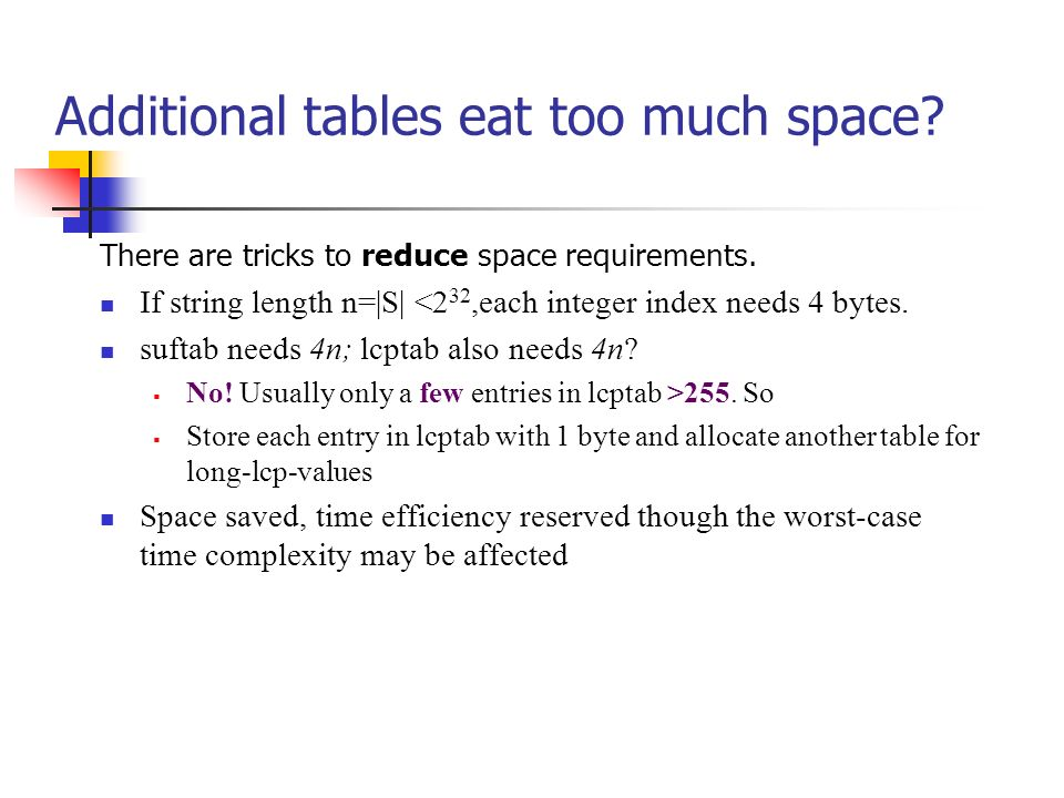 Additional tables eat too much space? There are tricks to reduce space requirements. If string length n=|S| <2 32,each integer index needs 4 bytes. su
