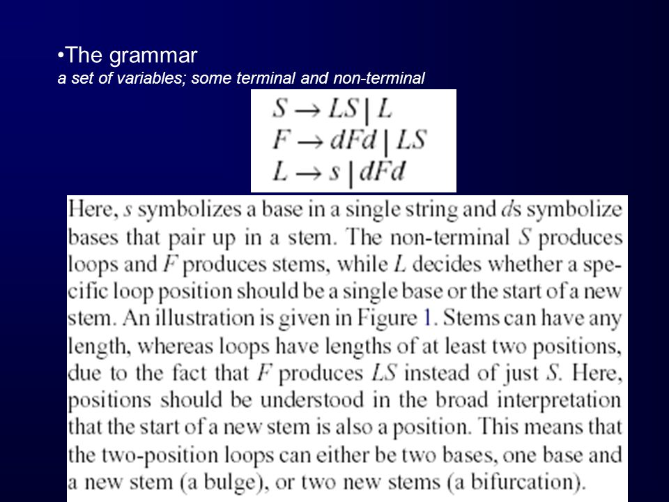 Grammar parameters by inside-outside algorithm (an expectation maximization procedure) on the training set et of secondary structure (Baker, 1979; Lari and Young, 1990) This is just like the forward-backward algorithm in HMM !!!