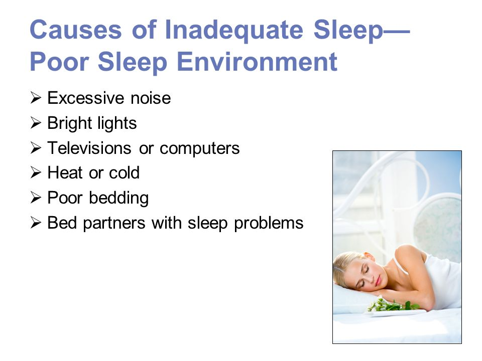 Causes of Inadequate Sleep Inappropriate Habits Spicy, fatty or sour foodsTrigger heartburn High-fat, low-fiber foods such as meat productsIndigestion and constipation MilkIncreases gastric acid Caffeine and other stimulantsStimulates central nervous system Nicotine AlcoholDisrupts rapid eye movement sleep AlcoholismIncreases risk of having obstructive sleep apnea