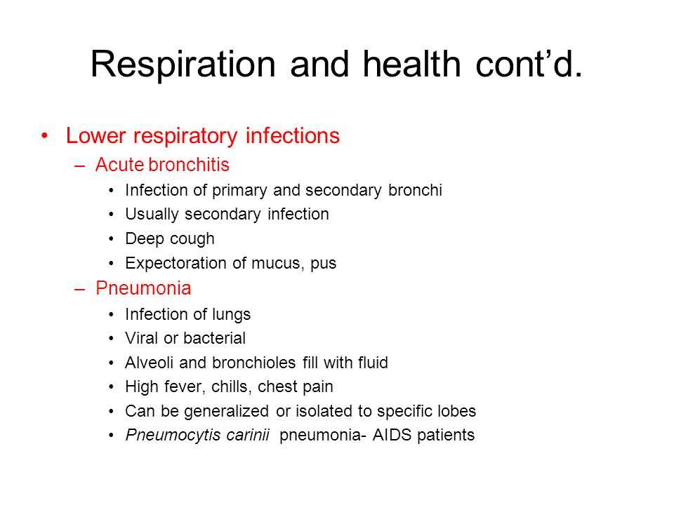 Respiration and health contd.