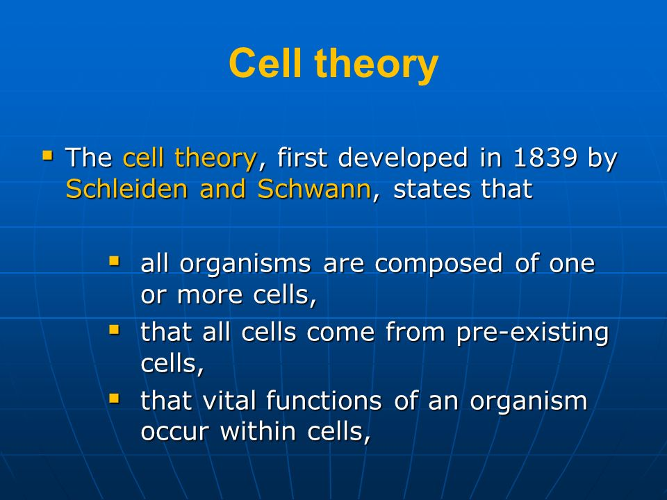 Cell theory The cell theory, first developed in 1839 by Schleiden and Schwann, states that The cell theory, first developed in 1839 by Schleiden and S
