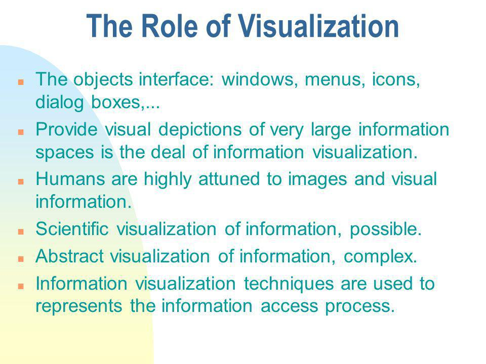 The Role of Visualization n The objects interface: windows, menus, icons, dialog boxes,...