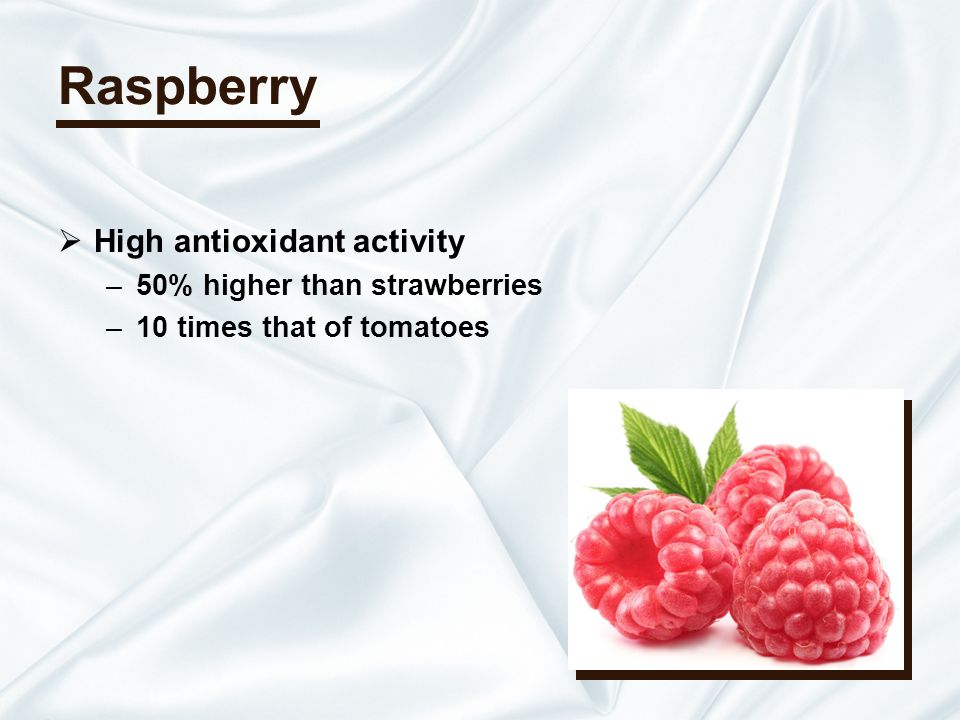 Raspberry High antioxidant activity –50% higher than strawberries –10 times that of tomatoes