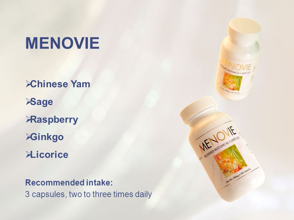 MENOVIE Chinese Yam Sage Raspberry Ginkgo Licorice Recommended intake: 3 capsules, two to three times daily