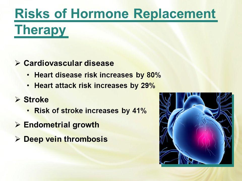 Cardiovascular disease Heart disease risk increases by 80% Heart attack risk increases by 29% Stroke Risk of stroke increases by 41% Endometrial growt