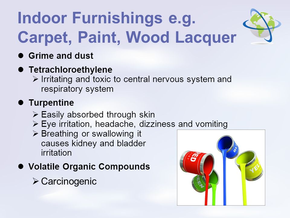Indoor Furnishings e.g. Carpet, Paint, Wood Lacquer Grime and dust Tetrachloroethylene Irritating and toxic to central nervous system and respiratory