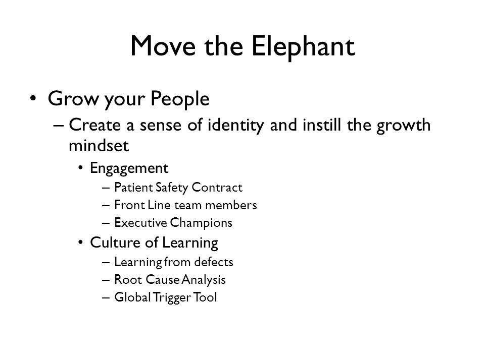 Move the Elephant Grow your People – Create a sense of identity and instill the growth mindset Engagement – Patient Safety Contract – Front Line team