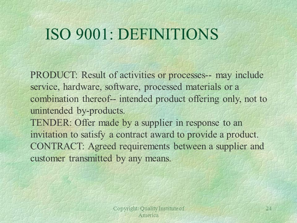 ISO 9000: AN OVERVIEW THE 1994 STANDARDS §ISO 9001: Quality Systems- Model for QA in Design, Development, Production, Installation, and Servicing §ISO