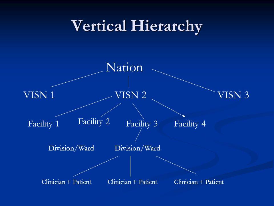 Vertical Hierarchy Nation VISN 1VISN 3VISN 2 Facility 1 Facility 2 Facility 3Facility 4 Division/Ward Clinician + Patient
