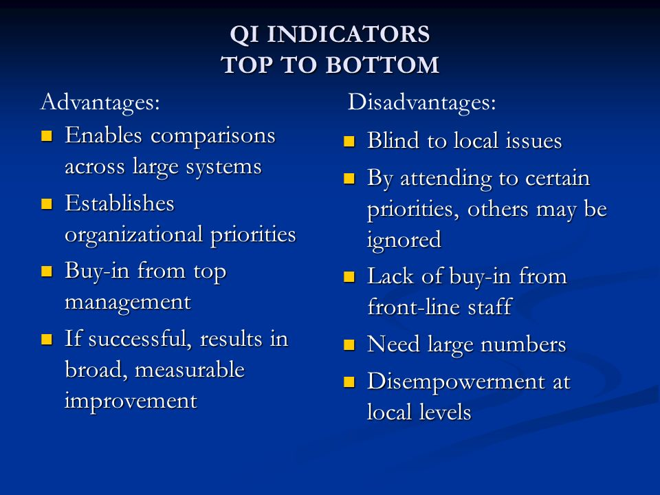 QI INDICATORS TOP TO BOTTOM Enables comparisons across large systems Enables comparisons across large systems Establishes organizational priorities Es