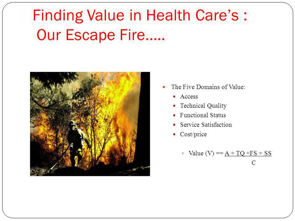 Finding Value in Health Cares : Our Escape Fire…..
