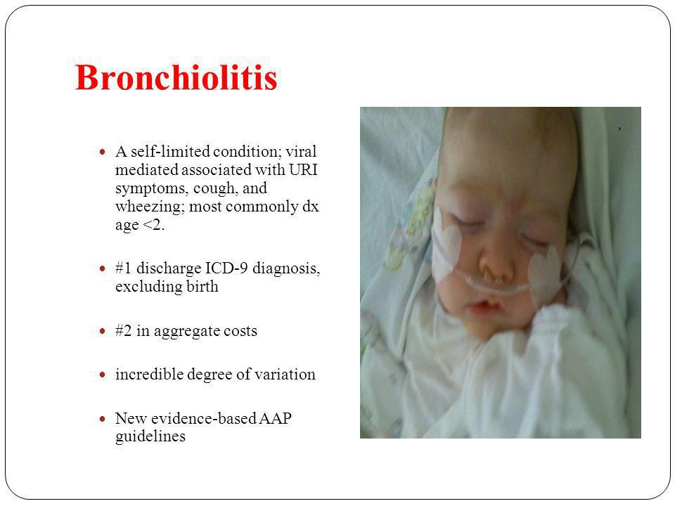 Bronchiolitis A self-limited condition; viral mediated associated with URI symptoms, cough, and wheezing; most commonly dx age <2.