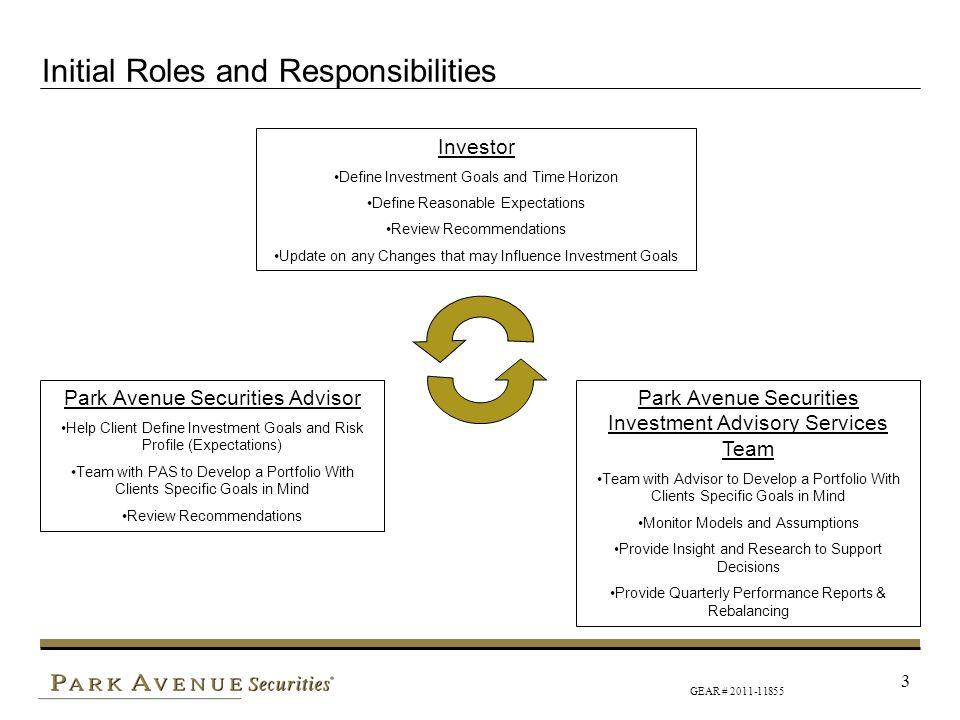 GEAR # 2011-11855 3 Initial Roles and Responsibilities Investor Define Investment Goals and Time Horizon Define Reasonable Expectations Review Recomme