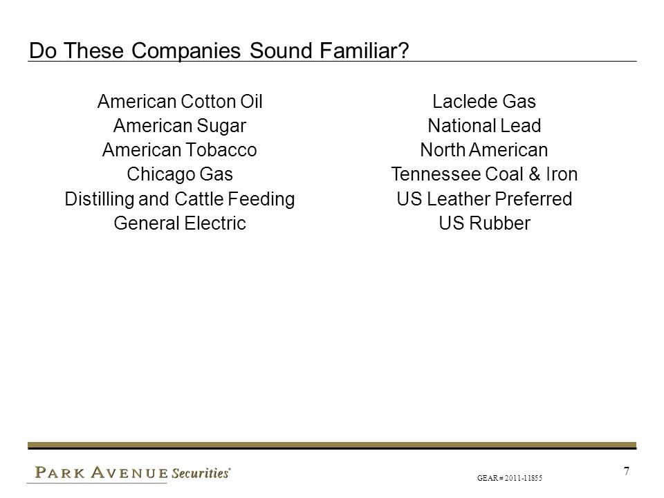 GEAR # 2011-11855 7 Do These Companies Sound Familiar? American Cotton Oil American Sugar American Tobacco Chicago Gas Distilling and Cattle Feeding G