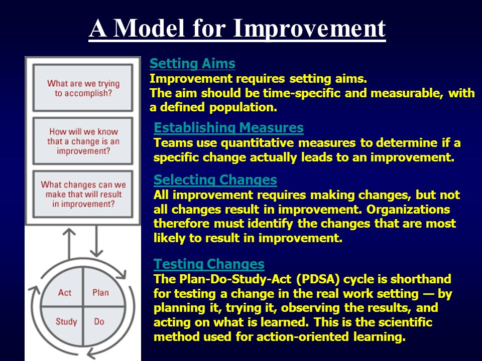 Establishing Measures Establishing Measures Teams use quantitative measures to determine if a specific change actually leads to an improvement. Settin