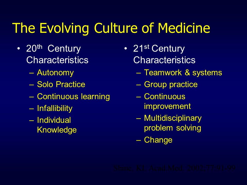 The Evolving Culture of Medicine 20 th Century Characteristics –Autonomy –Solo Practice –Continuous learning –Infallibility –Individual Knowledge 21 s