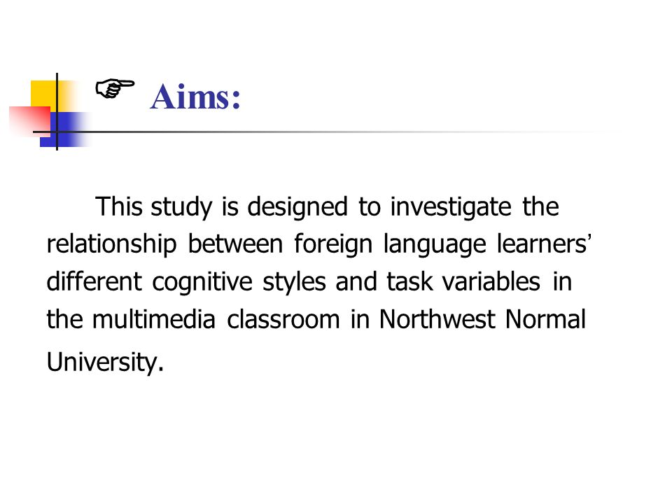 Aims: This study is designed to investigate the relationship between foreign language learners different cognitive styles and task variables in the mu