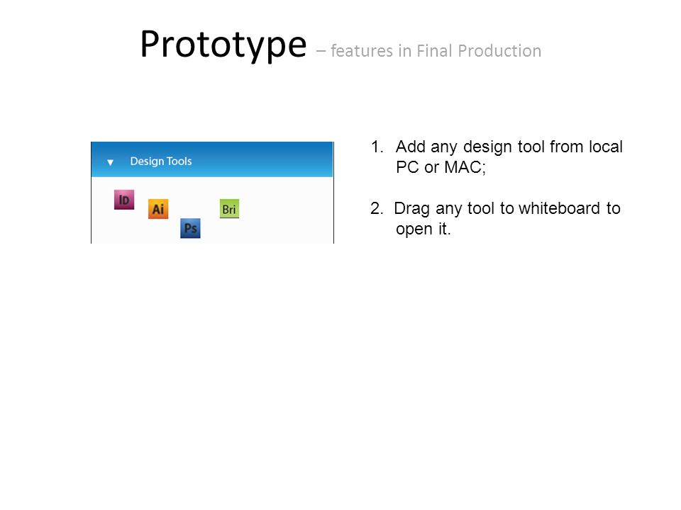 Prototype – features in Final Production 1.Add any design tool from local PC or MAC; 2.