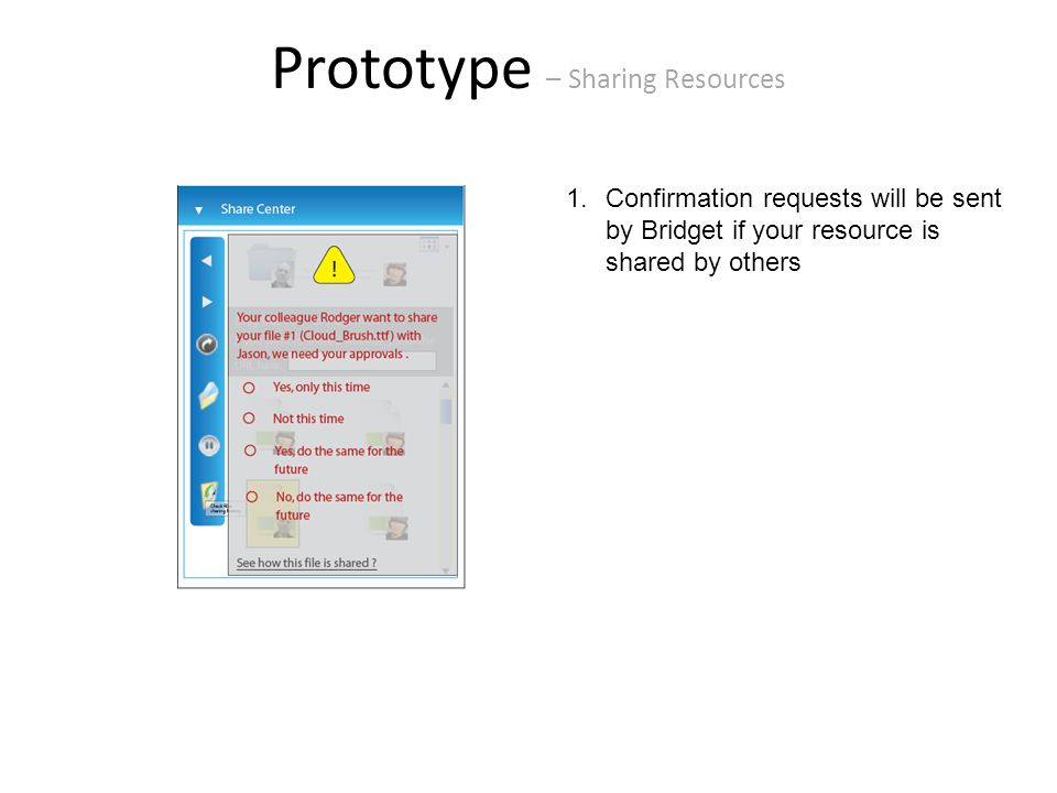 Prototype – Sharing Resources 1.Confirmation requests will be sent by Bridget if your resource is shared by others