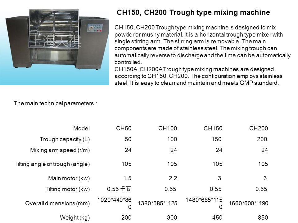 CH150, CH200 Trough type mixing machine CH150, CH200 Trough type mixing machine is designed to mix powder or mushy material. It is a horizontal trough