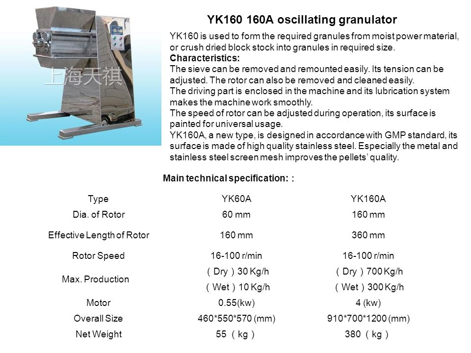 YK160 is used to form the required granules from moist power material, or crush dried block stock into granules in required size. Characteristics: The