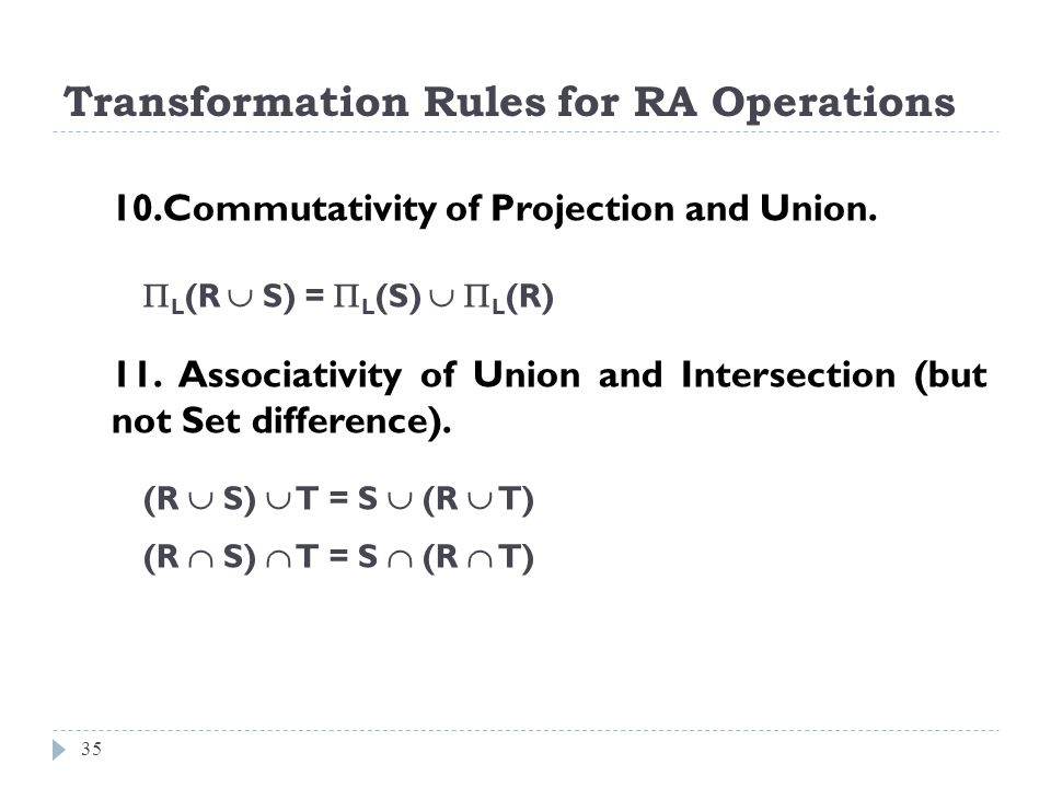 Transformation Rules for RA Operations 35 10.Commutativity of Projection and Union. L (R S) = L (S) L (R) 11. Associativity of Union and Intersection