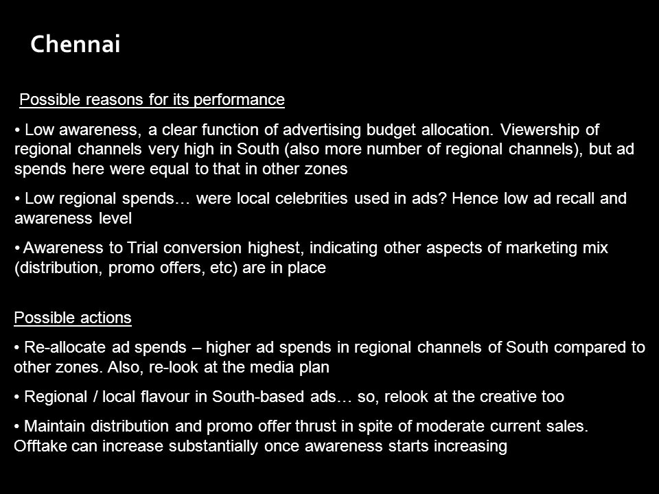Chennai Possible reasons for its performance Low awareness, a clear function of advertising budget allocation. Viewership of regional channels very hi