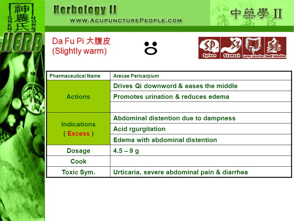 Pharmaceutical NameArecae Pericarpium Actions Drives Qi downword & eases the middle Promotes urination & reduces edema Indications ( Excess ) Abdominal distention due to dampness Acid rgurgitation Edema with abdominal distention Dosage4.5 – 9 g Cook Toxic Sym.Urticaria, severe abdominal pain & diarrhea Da Fu Pi (Slightly warm)